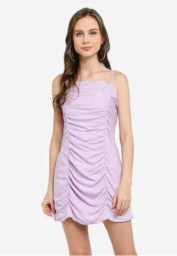 Cotton On purple Woven Holly Ruched Strappy Mini Dress C01FBAAF217937GS_1