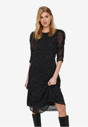 JACQUELINE DE YONG black Kylie 3/4 Above Calf Dress C9CB0AABAD3432GS_1