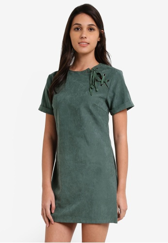 Something Borrowed green Tilted Lace Up Shift Dress 5DF4BAA3BA785DGS_1