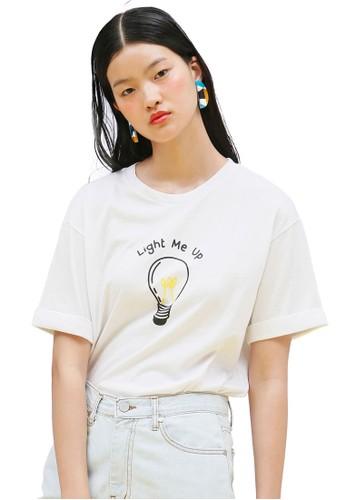 韓esprit分店系時尚燈泡圖案捲袖TEE, 服飾, 上衣