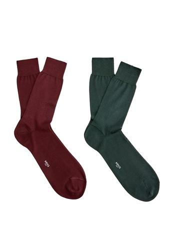 Mango Man 綠色 2 入 素色襪子 C52D7AA73232F3GS_1