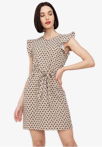 ZALORA WORK multi Frill Sleeves Dress B691EAA5ED14FEGS_1
