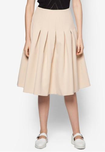 褶飾傘狀及膝zalora 折扣碼短裙, 服飾, 服飾