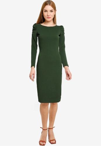 Dorothy Perkins green Khaki Ruched Sleeve Bodycon Dress 9DEF9AAF39C3CFGS_1