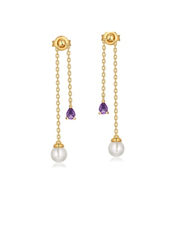 SUNSET gold Premium 925 Sliver Pearl Earring 4FFEBACE87A121GS_1