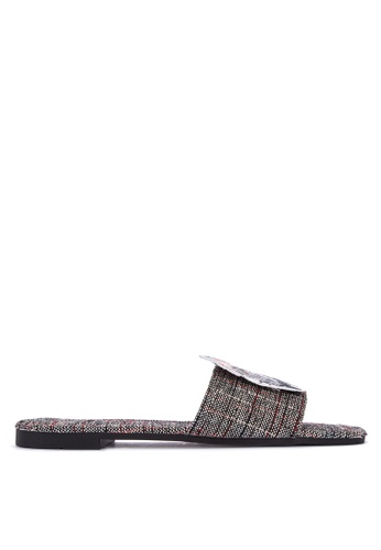 DSNY FOOTWEAR SHOP grey Feliz Plaid Slides E2877SHCDA00A1GS_1
