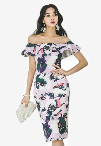 Sunnydaysweety purple S/S New Floral Off Shoulder One Piece Dress CA041801-0PU 72167AA368681CGS_1