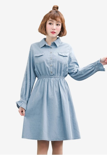 Tokichoi blue Front Pocket Collared Dress 3CB05AAFF18842GS_1