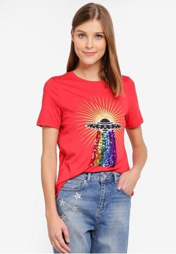 Vero Moda red Mando T-shirt VE975AA0ST3TMY_1