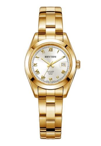 Rhythm RQ1614S 05 - Jam Tangan Wanita - Stainless - Gold White
