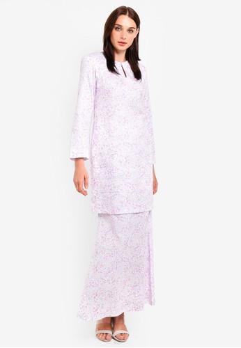 Butik Sireh Pinang white and purple and multi Maissa Modern Kurung E2C1EAA8347AB5GS_1
