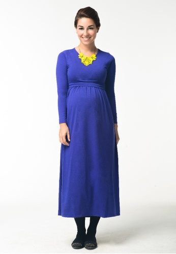 Bove by Spring Maternity blue Knitted Long Sleeved Mara Maxi Dress Ind 44853AA99EF7FAGS_1