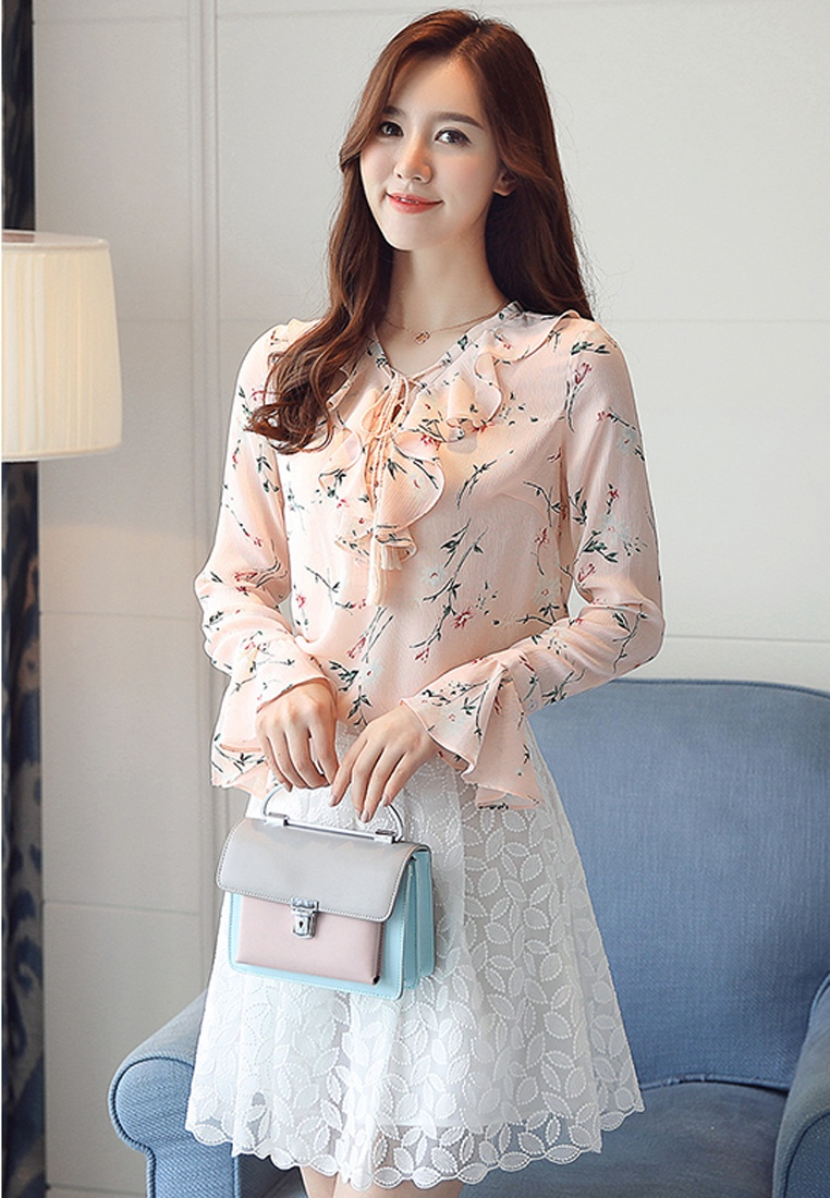 Halo Blouse Pink Printed Floral Chiffon pwfxrcFpqC