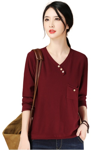 A-IN GIRLS red Simple V-Neck Long-Sleeved Sweater FAC27AAEF4DB8DGS_1