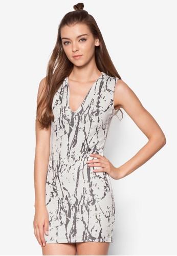 印花V 領esprit hk分店貼身洋裝, 服飾, 洋裝