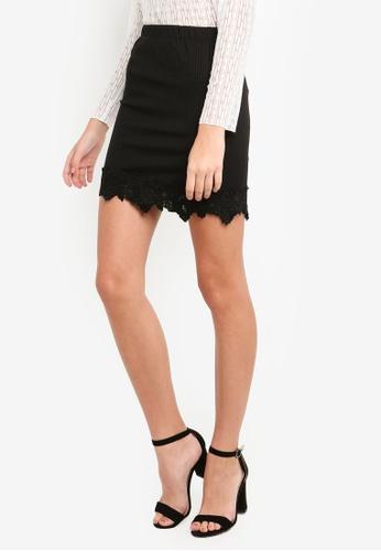 Eyescream black Lace Hem Mini Skirt B4D6AAA9F21972GS_1