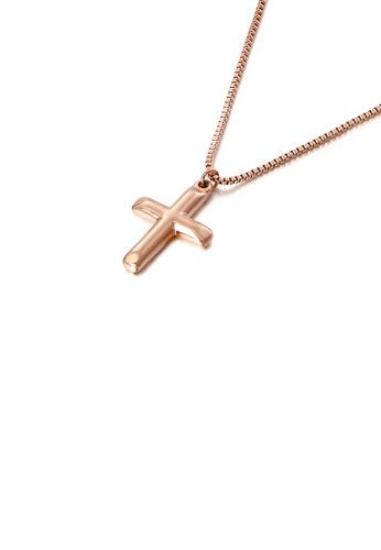 Glamorousky 銀色 簡約時尚鍍玫瑰金十字架316L鋼吊墜配項鏈 7973BAC8E0DC61GS_1