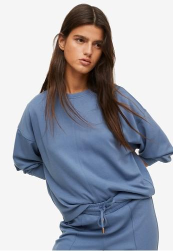Mango blue Oversized Textured Sweatshirt 7F8ABAA123B294GS_1