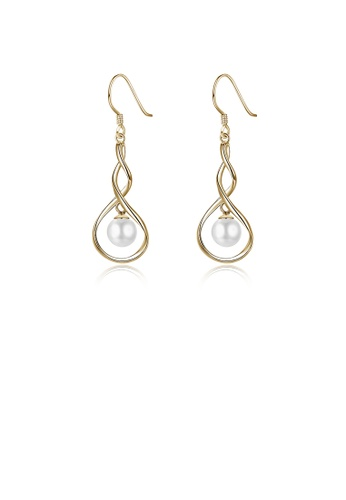 Glamorousky white 925 Sterling Silver Elegant Plated Champagne Gold Pearl Earrings 9687DAC6990DCEGS_1
