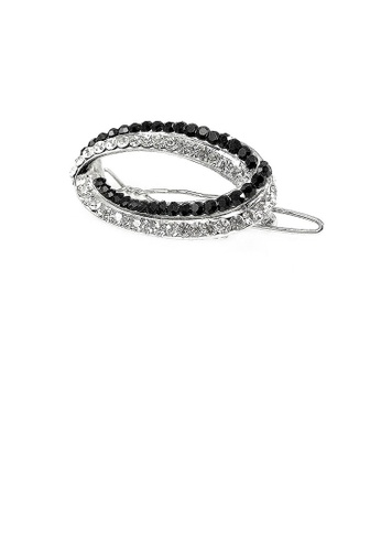 Glamorousky silver Elegant Barrette with Black and Silver Austrian Element Crystal 004F4AC19937B8GS_1