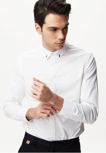 雅致商務。金屬釦飾襯衫-11076esprit門市-白色, 服飾, 商務襯衫