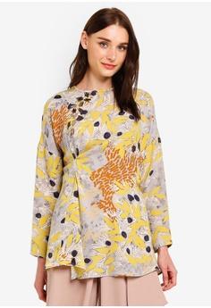 48b23e1f8165 Kami Idea For Zalora yellow Sofia Embellished Centred Pleats Top  81E3EAAE526018GS_1