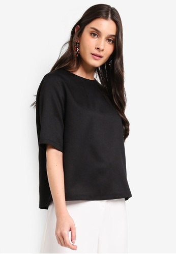 ZALORA black Mid Sleeves Top With Back Detail 8DF0DAA38848F9GS_1