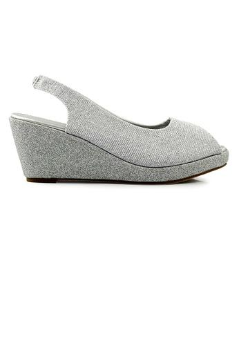 SHINE silver SHINE Glitter Slingback Wedge Sandal 3DDA1SH84B8EC0GS_1