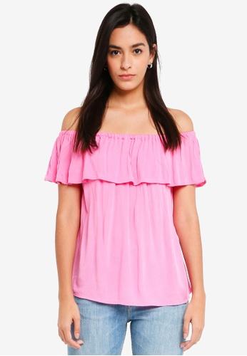 ICHI pink Marrakech Bardot Top 0E544AA4D7D02DGS_1