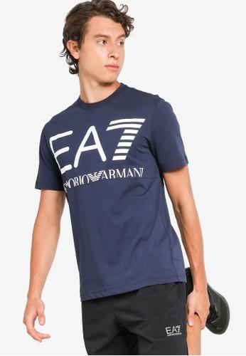 EA7 navy Train Logo Series Oversize Logo Tee 0F977AAE38D1EBGS_1