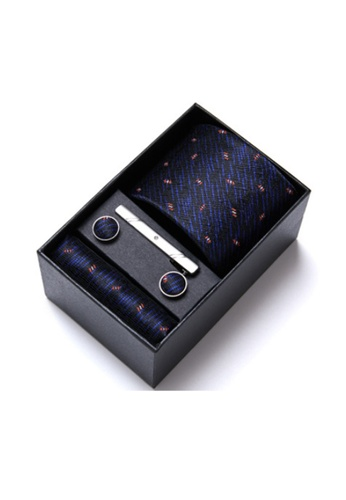 Kings Collection blue Blue Tie, Pocket Square, Cufflinks, Tie Clip 4 Pieces Gift Set (KCBT2136) C52DEAC80EDB4AGS_1