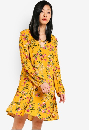 Something Borrowed yellow and multi Relaxed Long Sleeves Swing Dress 42B89AAC893BA5GS_1