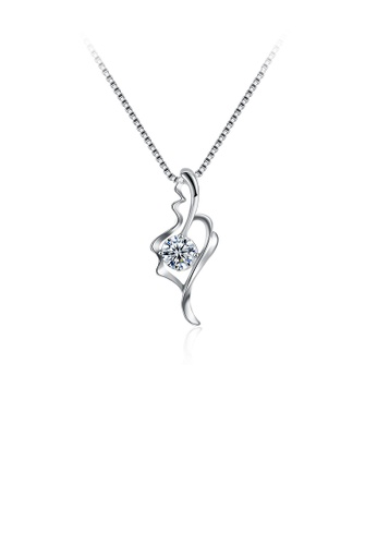 Glamorousky white 925 Sterling Silver Elegant Fashion Hollow Out Leaf Pendant Necklace with Cubic Zircon 0E5FCACAAC71D0GS_1