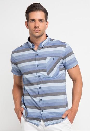 Bombboogie blue and grey Straight Line Salur Shirt BO419AA0V70JID_1