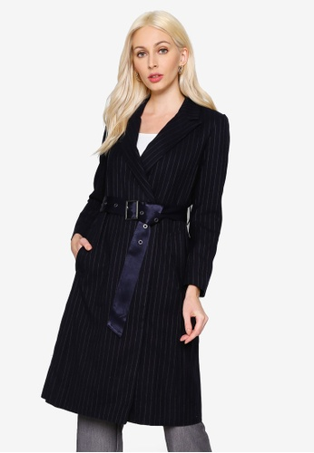 Hopeshow navy Striped A-Line Trench Coat 25F47AAB8CB1C1GS_1