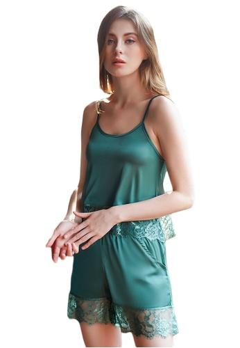 LYCKA 綠色 LCB8061-女士居家蕾絲睡衣兩件套-綠色 06FCAAA6D34C78GS_1