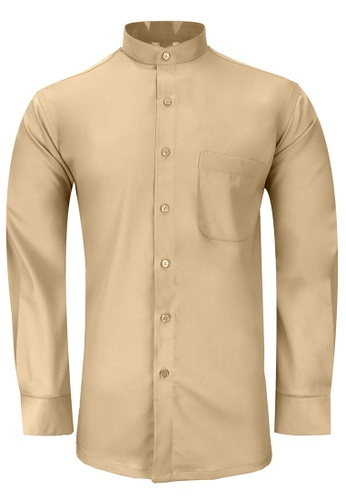 Pacolino brown Pacolino - Mandarin Collar Striped Formal Casual Long Sleeve Men Shirt AEDFFAAC8818EAGS_1