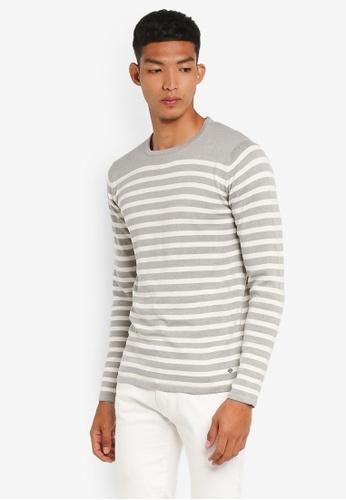 !Solid 灰色 長袖條紋針織衫 B9694AA96DF958GS_1
