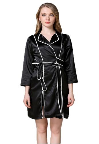 SMROCCO black Silk Long Sleeve Robe Pyjamas L8006 (Black) 46A7AAA73D946CGS_1
