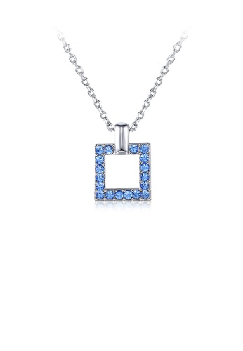 Glamorousky blue Fashion Square Pendant with Blue Austrian Element Crystal and Necklace DD0B7AC925C1ECGS_1