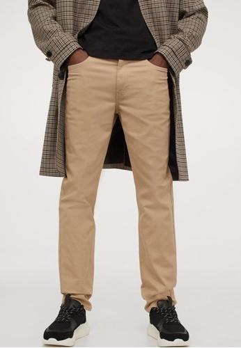 H&M beige Twill Trousers Slim Fit A4D8CAA2436454GS_1