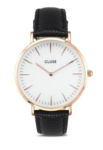 CLUSE black La Boheme Rose Gold White/Black Lizard Watch CL977AC0SA1XMY_1