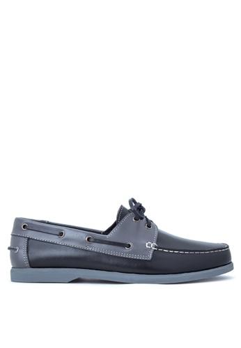 Brogue & Derby black Deegan Boat Shoes BR611SH11IHCPH_1