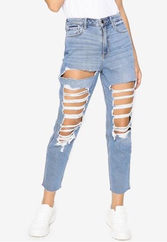 Hollister blue Shred Ultra High Rise Mom Jeans 5A4BEAAA639D59GS_1
