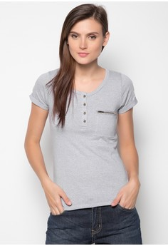 Extended Sleeved Basic Tee with Chambray Combi