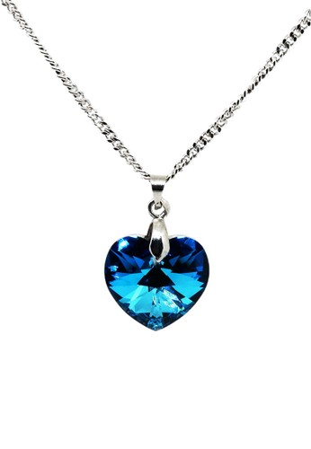 Torenda blue Love Pendant Kalung Liontin Swarovski - Biru (Bermuda Blue) A271CAC11D09A3GS_1