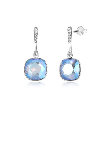 Glamorousky blue 925 Sterling Silver Elegant Fashion Simple Sparkling Light Blue Austrian Element Crystal Earrings D86BEACAF3FB93GS_1