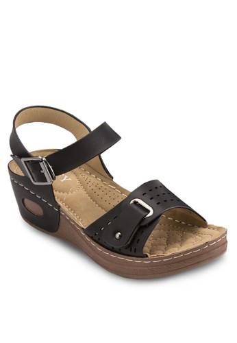 沖孔扣環楔型跟涼鞋, 女鞋,esprit門市 鞋