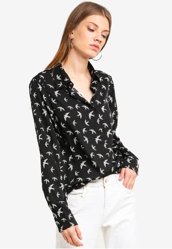 Brave Soul black Long Sleeve Shirt With Bird Print 950AEAAFA03583GS_1