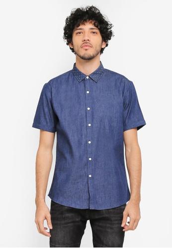 JAXON navy Mixed Fabric Short Sleeve Shirt C49ADAA2FFB08EGS_1